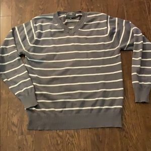 Grey and white long sleeve Striped men's sweater